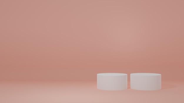 オレンジ色の部屋にある製品スタンド製品のスタジオシーン最小限のデザイン3dレンダリング