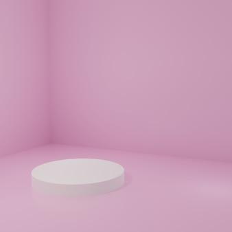 ピンクの部屋にある製品スタンド製品のスタジオシーン最小限のデザイン3dレンダリング