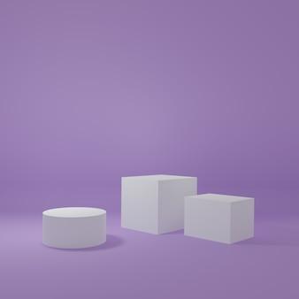紫色の部屋にある製品スタンド製品の最小限のデザインのスタジオシーン3dレンダリング