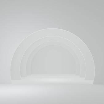 제품 최소 design3d 렌더링을 위한 화이트 룸 스튜디오 장면의 제품 스탠드