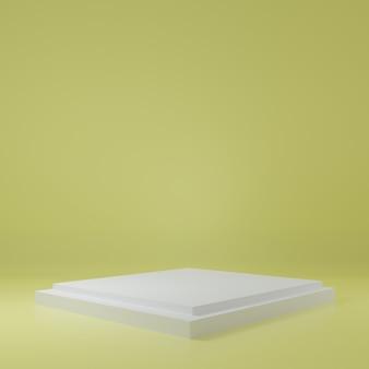 黄色い部屋の製品スタンド製品のスタジオシーン最小限のデザイン3dレンダリング