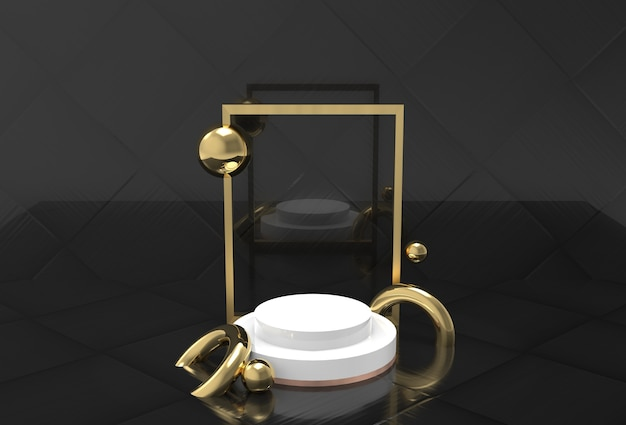 製品スタンドのモックアップ、黒での3dレンダリング