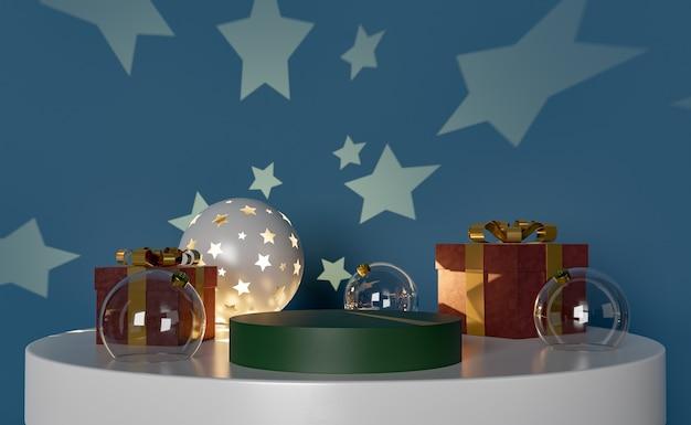 製品はクリスマスの飾りが付いている小さなテーブルの上に立つ