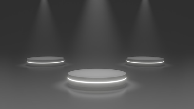 Product stand podium, future or sapce concept , stage light 3d rendering.