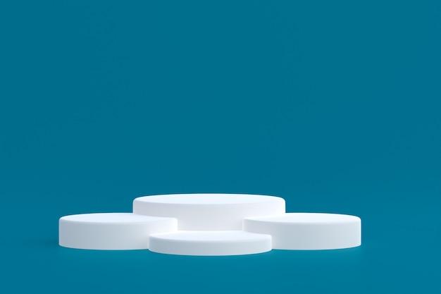 Стенд продукта, минимальный подиум на синем фоне для презентации косметической продукции.