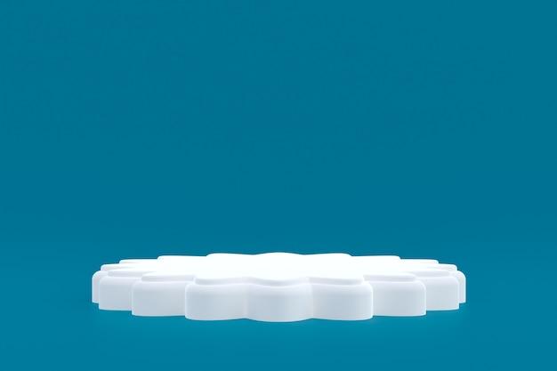 제품 스탠드, 화장품 프레젠테이션을 위해 파란색 배경에 최소한의 연단.