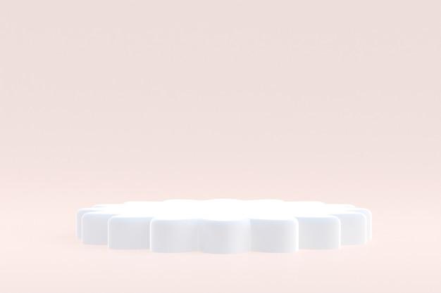 제품 스탠드, 화장품 프레젠테이션을 위해 크림 배경에 최소한의 연단.