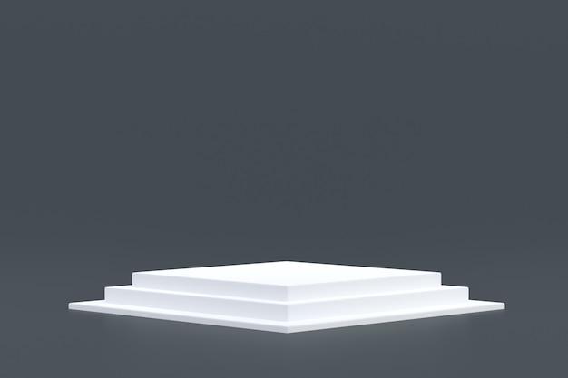 Стенд продукта, минимальный подиум на сером фоне для презентации косметической продукции.