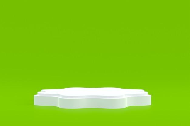 제품 스탠드, 화장품 프레젠테이션을 위해 녹색 배경에 최소한의 연단.