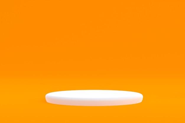 Стенд продукта, podium minimal на оранжевом фоне для презентации косметической продукции.