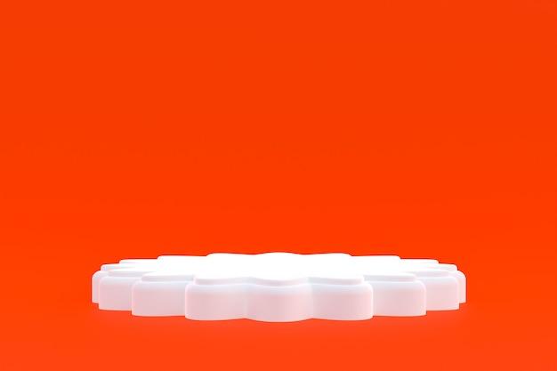 제품 스탠드, 화장품 프레젠테이션을 위해 주황색 배경에 최소한의 연단.