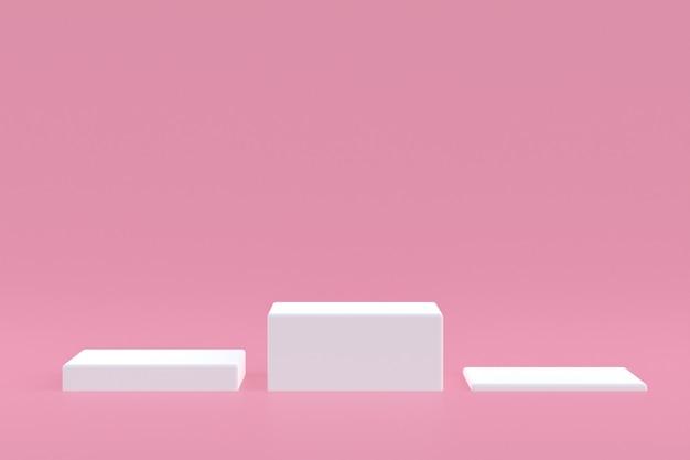 Стенд продукта, podium minimal на розовом фоне для презентации косметической продукции.