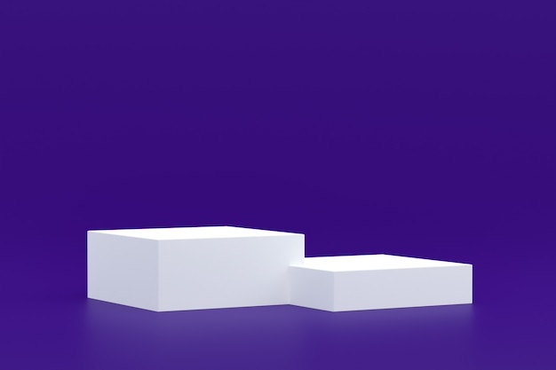 제품 스탠드, 화장품 프레젠테이션을 위해 자주색 배경에 최소한의 연단.