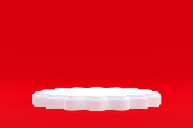 Стенд продукта, минимальный подиум на красном фоне для презентации косметической продукции.