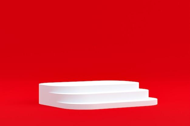 제품 스탠드, 화장품 제품 프레젠테이션을 위한 빨간색 배경의 연단.