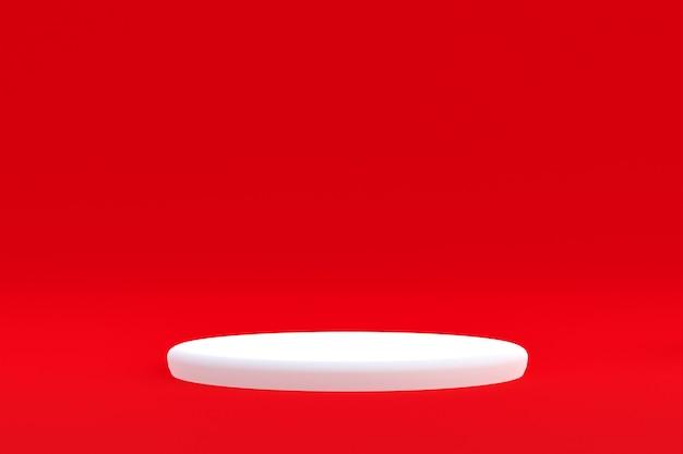 제품 스탠드, 화장품 프레젠테이션을 위해 빨간색 배경에 최소한의 연단.