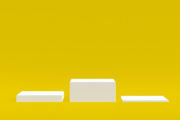 Стенд продукта, подиум минимальный на желтом фоне для презентации косметической продукции.