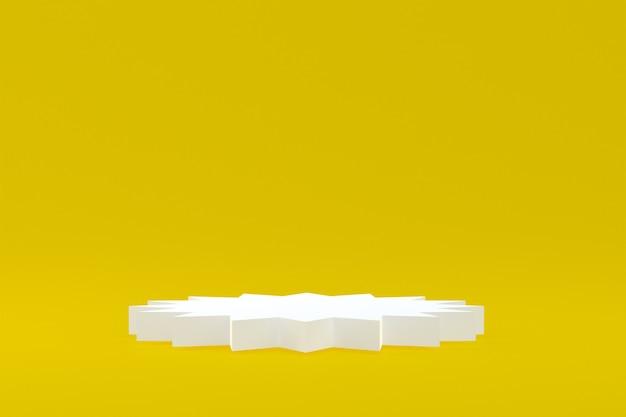 제품 스탠드, 화장품 프레젠테이션을 위해 노란색 배경에 최소한의 연단.