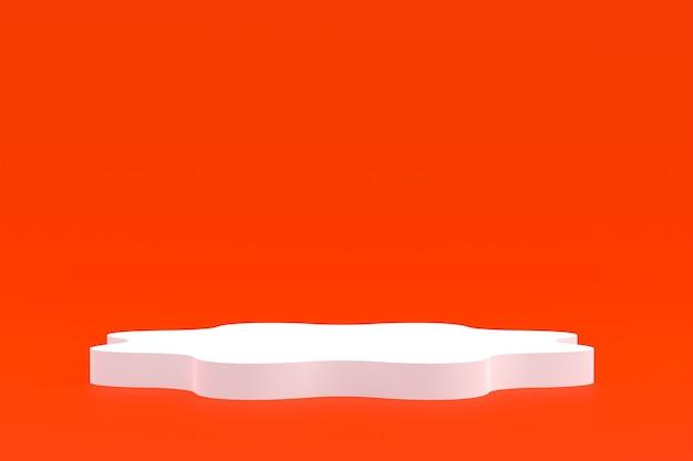 Product stand, podium minimal on orange background for cosmetic product presentation.
