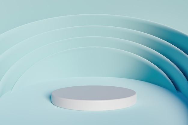 Стенд для продуктов с синим фоном и круглыми формами, окружающими белый цилиндр. 3d рендеринг