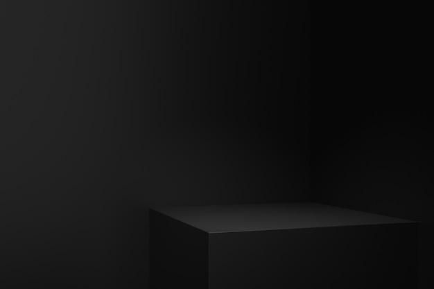 어둠의 개념을 가진 제품 스탠드. 3d 렌더링.