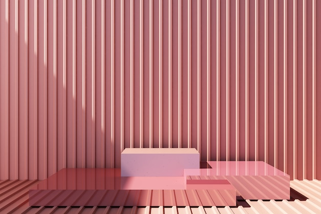 Product stand with pastel pink metal sheet wall
