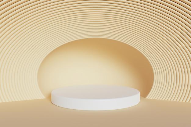 オレンジ色のパステルカラーの背景に白い円柱と多くの楕円形の円形の線が付いた製品スタンド。 3dレンダリング