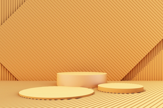 Product stand with yellow metal sheet background 3d render