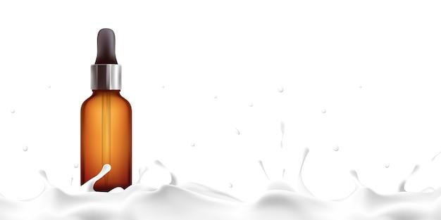 제품 튜브 제품 모형 우유 세럼 스킨 크림 로션 미용 제품 광고 우유 물 우유 스킨 케어 3d 일러스트 클리핑 패스와 함께 흰색 배경