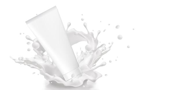 Трубка продукта макет продукта молочная сыворотка крем для кожи лосьон реклама продукта красоты молоко вода молоко уход за кожей 3d иллюстрация белый фон с обтравочным контуром