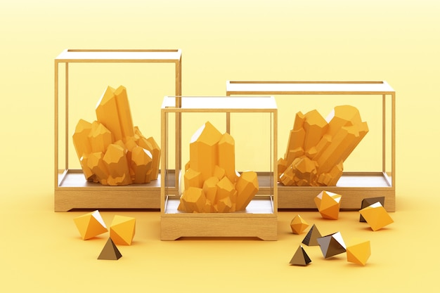 Product of yellow mineral formation, minerals, quartz, gems, diamonds. 3d rendering