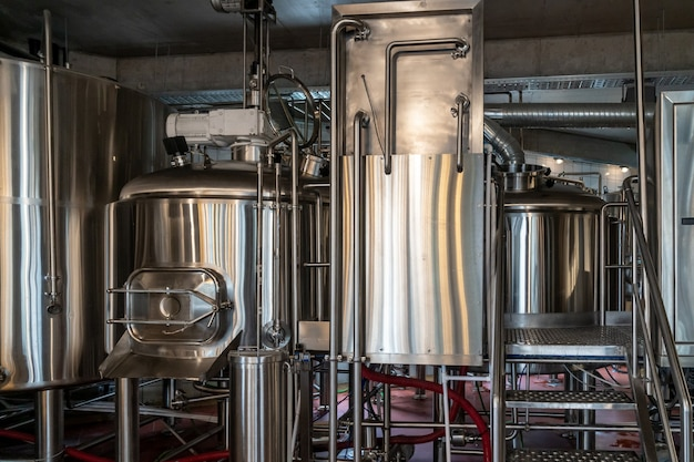 Production of beer, steel reservoirs and pipes in a brewery, industry