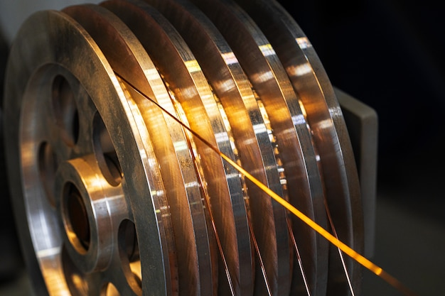 Production of cable wire at cable factory close up