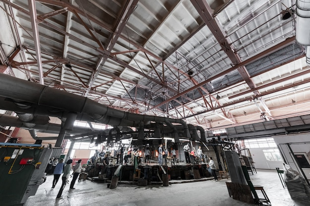 Production of glass at manufacture factory industry