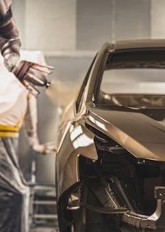 自動車工場、塗装工場の生産ライン