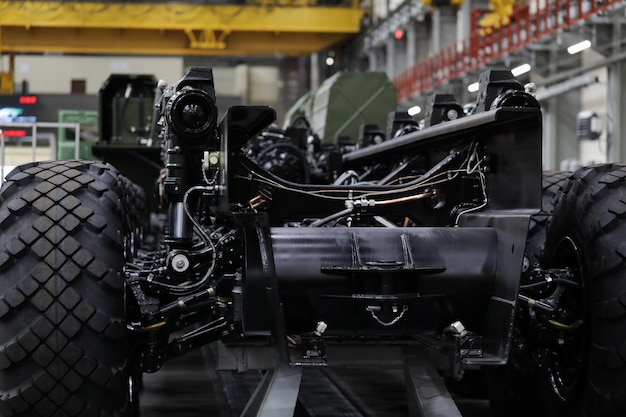 Production workshop for production of wheeled chassis and vehicles