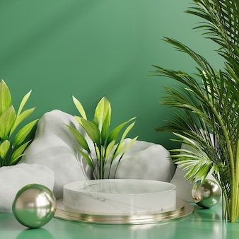 Products display green podium scene with for product presentation,3d rendering