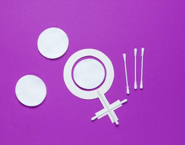 Товары для женской гигиены, ухода за собой и здоровья, символ женского пола