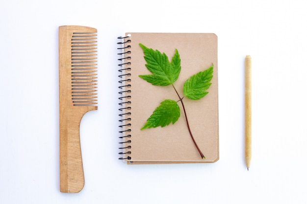 Products made from recycled kraft paper. eco concept, plastic free. environmental protection, nature conservation and rejection of plastic products.