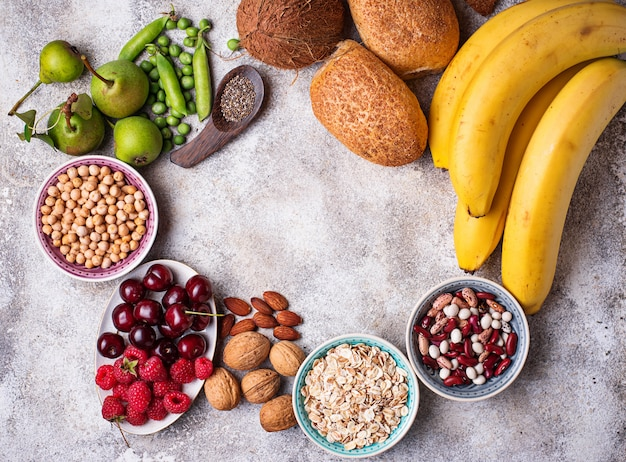 Products rich in fiber. healthy diet food