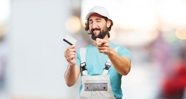 Profesional painter with a credit card