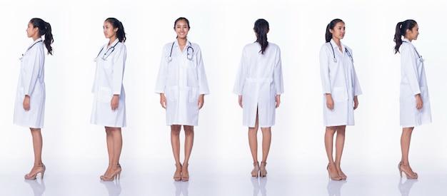 ラボコートの制服の髪の聴診器でプロのアジアの美しい医師の看護師の女性は、笑顔、立って、医療病院で歩く、白い背景のスタジオ照明、コラージュグループパックの全長360
