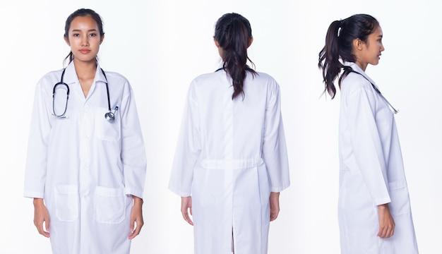 ラボコートの制服の髪の聴診器でプロのアジアの美しい医師の看護師の女性は、笑顔、立って、医療病院で歩く、白い背景のスタジオ照明、コラージュグループパックの肖像画360