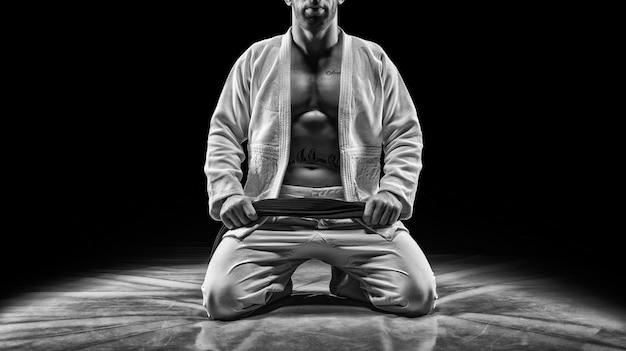 プロスポーツ選手がジムに座っています。空手、柔術、サンボ、柔道のコンセプト。ミクストメディア