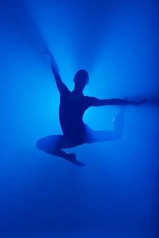 연기에 발레 춤 전문 발레리나. 시경 배경에 검은 bodysuit에서 여성입니다.
