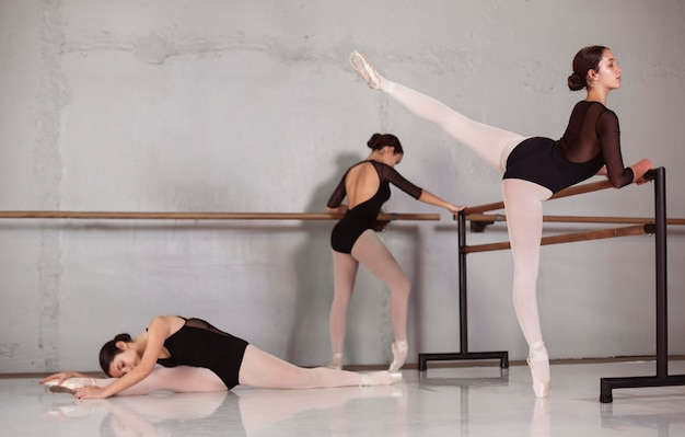 Professional ballerinas training together with pointe shoes and leotards