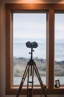 Professional binoculars on tripod