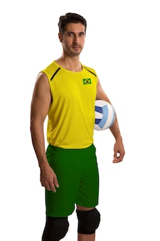 Professional brazilian volleyball player with ball. isolated on white space.