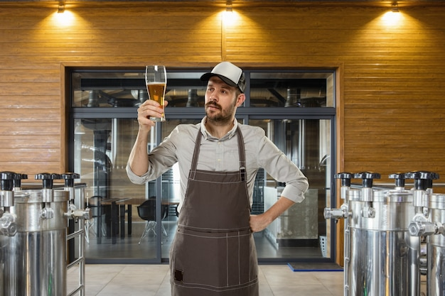 Professional brewer on his own craft alcohol production