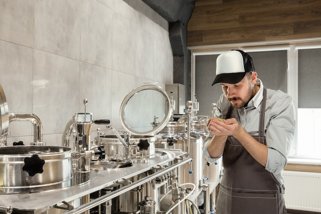 Professional brewer on his own craft alcohol production.